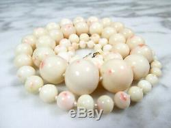VICTORIAN NATURAL ANGEL SKIN CORAL BEADED NECKLACE 14K GOLD CLASP 26 1/2 99.5g