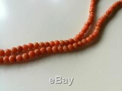 VINTAGE ART DECO HAND CARVED REAL NATURAL RED CORAL GEMSTONE BEADS NECKLACE 14g