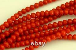 VINTAGE EIGHT STRANDS RED NATURAL MEDITERRANEAN CORAL BEAD NECKLACE 67,7g