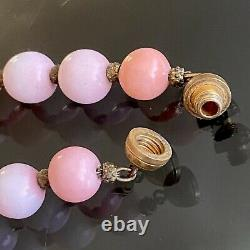 VINTAGE French LOUIS ROUSSELET Salmon CORAL Carved GLASS Galalith BEADS Necklace