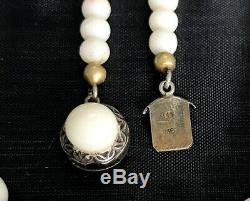 VINTAGE GENUINE ANGEL SKIN CORAL BEADED NECKLACE 835 SILVER CLASP 21, 39.8 gr