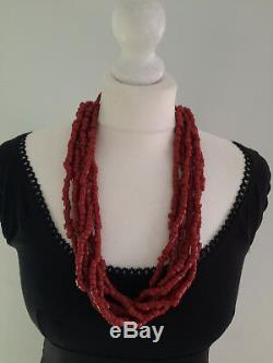 VINTAGE RED CORAL NECKLACE TRIBAL RARE OLD TRADE BEADS 272g CHINESE INTEREST