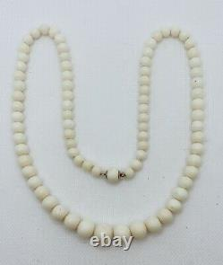 VTG Angel Skin Coral Graduated Beaded &14k Gold Clasp Necklace 47.5g #bu