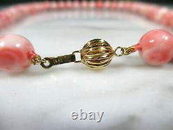 VTG CHINESE NATURAL PINK ANGEL SKIN CORAL BEADED NECKLACE 14K GOLD CLASP 71.8 g