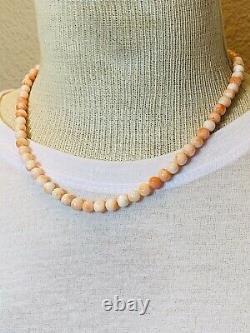 VTG Estate Light Pink Angel Skin Coral Natural Necklace Beaded Fine 6mm