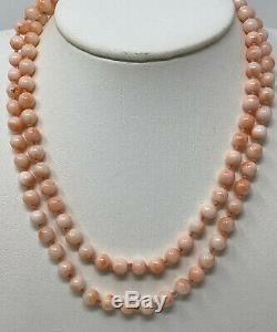 VTG FINE ESTATE LONG Vintage Natural Angel Skin Coral 6 mm 32 Bead Necklace