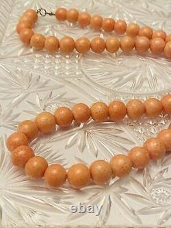 VTG Genuine natural Necklace Authentic Sponge Coral Beads Beaded Graduated 12mm