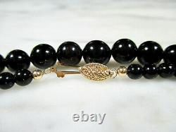 VTG HAWAIIAN GRADUATED BLACK CORAL ROUND BEAD 14K GOLD NECKLACE 24 3/4 18.7g