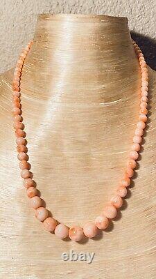 VTG Pink Angel Skin Natural Coral Branch Necklace Beaded Fine Graduated 28g