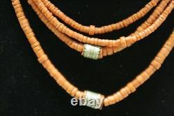 Very OLD Antique vintage red coral beads necklace saturated color four threads