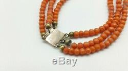 Victorian 3 Strand Graduated Salmon Coral Bead Necklace Gold Clasp. 34.5 gs