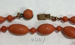 Victorian ANTIQUE 33.9 Gram Undyed Natural Red Coral GENUINE BEADS NECKLACE 32