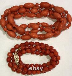 Victorian Antique Oxblood Undyed Coral Necklace Faceted Carved Beads 14k Gold