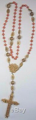 Victorian Art NouVeau Rosary Necklace 18K Yellow Gold Coral Beads 3.44 x 2.24