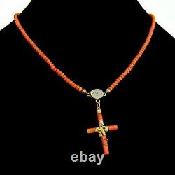 Victorian Coral Cross Pendant Bead Necklace 14K Gold