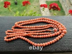 Victorian Graduated Dual Strand Salmon Coral Bead Necklace Gold/Silver 835 Clasp