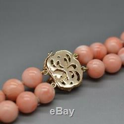 Vintage 14K Yellow Gold Angel Skin Coral Double Bead Necklace 20in