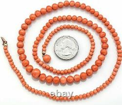 Vintage 14K Yellow Gold Salmon Coral Long Beaded Strand Necklace 36.7 Gr 28.75