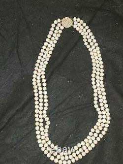 Vintage 14k 3-strand Long Angel Skin Coral Shell Bead Beaded Necklace White Pink