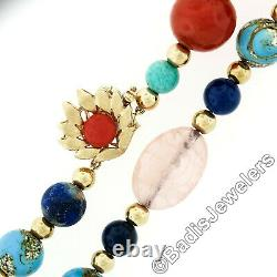 Vintage 14k Gold 33 Long Carved Rose Quartz Multi Gemstone Bead Strand Necklace