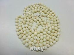 Vintage 14k Gold Angel Skin Coral Bead 9mm Hand Knotted Necklace 60 132 grams