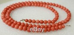 Vintage 14k Gold Clasp Undyed Natural Salmon Orange Coral Bead Necklace 19