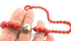 Vintage 14k Gold Diamond 50Ct 7. Mm Beaded Sardinian Coral Necklace 26 52.2gms