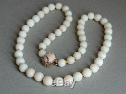 Vintage 14k Yellow Gold Angel Skin Coral Bead Necklace, 20, 11.5MM