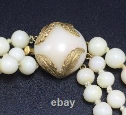 Vintage 14k Yellow Gold Angel Skin Coral Graduated Beaded Triple Strand Necklace