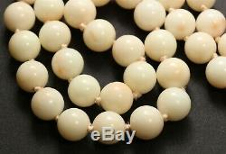 Vintage 14k Yellow Gold Hand Knotted 8mm Angel Skin Coral Bead Necklace 50.3g