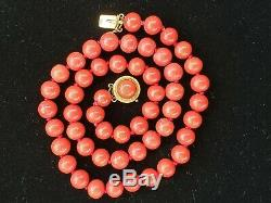 Vintage 18k Natural Red Coral Bead Necklace 8 mm 18 inch 41 grams