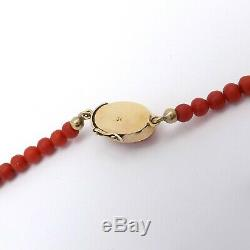 Vintage 18k Rose Gold 750 Italy Red Sea Coral Graduated Bead Necklace 17