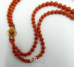 Vintage 18k gold clasp w double string natural graduated coral beads necklace 47