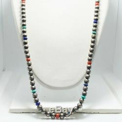 Vintage 26 Navajo Sterling Silver Lapis Coral Bead Necklace (5313)