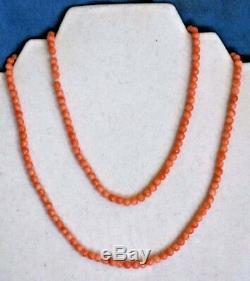 Vintage 32 Long 5mm Natural ORANGE Coral 26 Gram Carved Beads Estate Necklace