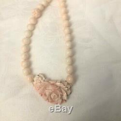 Vintage 32 Opera Length Sterling Carved Angel Skin Coral Necklace 10 mm Beads