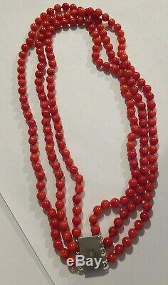 Vintage 3 Strand Bead Genuine Coral Handknotted Sterling Chinese Necklace