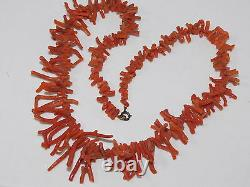 Vintage 48g Natural Red Salmon Branch Coral Graduated Bead 20 Necklace 6d 85