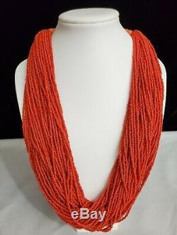 Vintage 50 Strand Red Coral Bead Torsade Multi Strand Necklace
