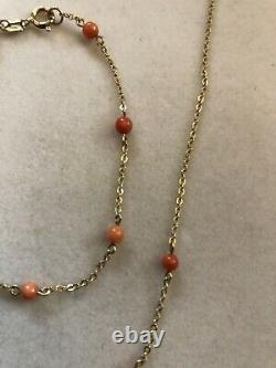 Vintage 9ct Gold Coral Bead Necklace And Bracelet Set