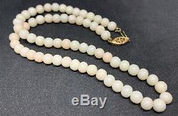 Vintage Angel Skin Coral Bead Matinee Necklace
