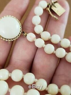 Vintage Angel Skin Coral Beaded Necklace 14k Gold Clasp