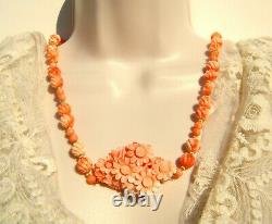 Vintage Angel Skin Coral Carved Bead and Floral Pendant 25 Necklace