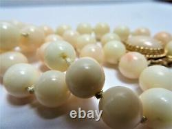 Vintage Angel Skin Coral Necklace, 14k Yellow Gold, 17mm Oval Clasp 10 MM Bead