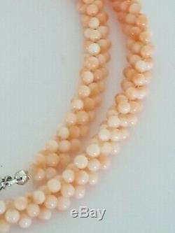 Vintage Angel Skin Coral Necklace Woven Ombre Bead Multi Strand Silver Clasp