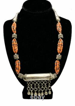 Vintage Antique Coral Silver Beads Amulet Early 1900s Tribal Yemeni Necklace