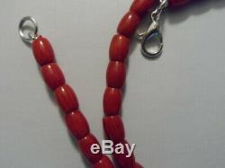 Vintage Antique Natural Carved Red Coral Beads Necklace 20 Long- 30 Grams