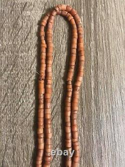 Vintage Antique Natural Carved Red Coral Beads Necklace 48 Grams