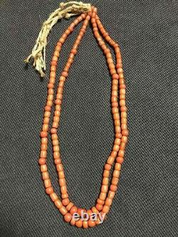 Vintage Antique Natural Carved Red Coral Beads Necklace 76 Grams