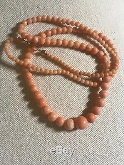 Vintage Antique Pink Angel Skin Coral Graduated Bead Necklace Gold Beads